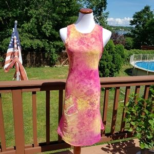 MY MICHELLE Pink Orange Floral Dress Sz 9